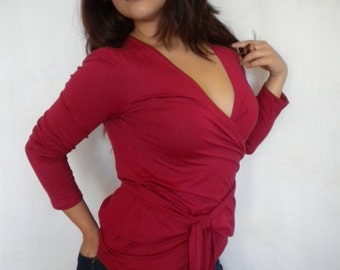 wrap top long sleeve blouse wrap shirt V neck womens wrap tunic plus size shirt maternity shirt layering top made to order