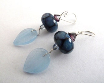 handmade lampwork blue glass earrings, UK jewellery