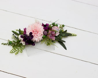Pink purple greenery comb Flower comb Hair flowers Bridal floral headpiece Wedding flowers Floral accessories Bridesmaid comb  Flower girl
