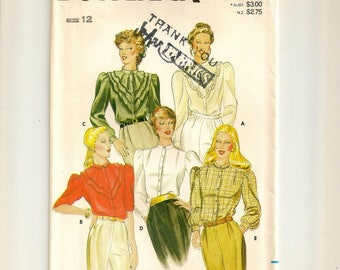 """A Long or Below Elbow Sleeve Embroidered Blouse Pattern w/ Collar & Flounce Variations for Women: Uncut - Size 12, Bust 34"""" • Butterick 4171"""