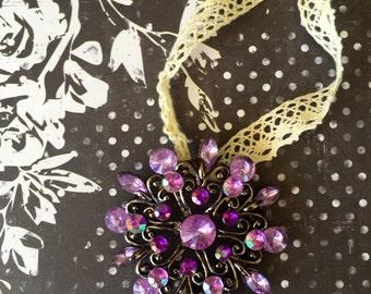 Vintage Purple & Silver Brooch Christmas Ornament