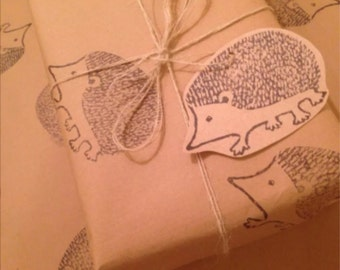 Stunning Hedgehog Handprinted Gift Wrap. 50 x 70 cm. 2 gift tags.