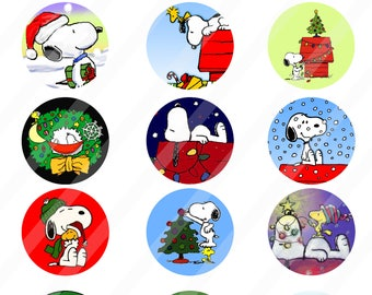 Snoopy digital collage 2 inches sheet size 8.5x11  - INSTANT DOWNLOAD