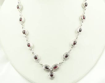 """Hand Made Vintage Garnet and Sterling Silver And Garnet 18"""" Necklace FREE SHIPPING! #GARNET5-SCP5"""
