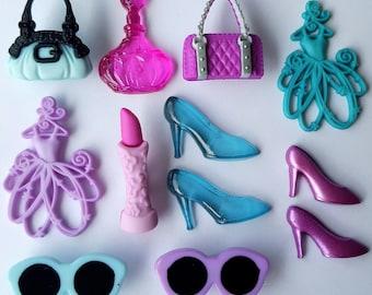 LET'S SHOP - Handbag Shopping Bag Lipstick Shoes Girl Dress It Up Craft Buttons