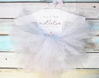 Who Needs Mistletoe Christmas Baby Girls Outfit Set Silver Metallic Print White Vest Bodysuit