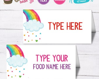 INSTANT DOWNLOAD - EDITABLE Colorful Rainbow Food card Rainbow Birthday decor buffet label place card Rainbow party decorations food label