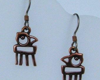 Copper Parrot Earrings on Hypoallergenic Ear Wires, Bird Charms, Bird Jewelry, Copper Earrings, Parrot Charms, Parrot Jewelry