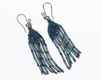 Fringe Earrings in Shades of Teal