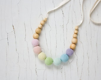 Scandi Rainbow Nursing Necklace - Teething Necklace, New Mom Necklace, Easter Baby Gift - NR05