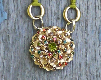 Reduced from 48-Necklace Brooche - Mixed Media Necklace- The Sunburst - Gorgeous Elegant One of a Kind Piece- Boho Wedding -
