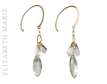 Green Amethyst and Moonstone on 14K Gold Filled French Earwire