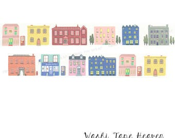 Vintage Buildings Washi Tape - Wide 30mm x 5m - Quaint Village Houses Town Shops Street Scene - Collage Art Supply Decoration Card-making