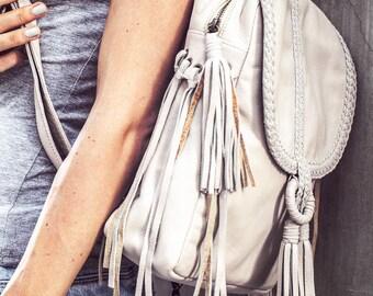 SANDY BAY. Leather backpack / backpack bag / leather fringe backpack / bohemian bag / boho backpack. Available in different leather colors.