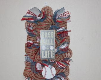 Baseball Is Life door hanger , baseball, red, white and blue and burlap swag, baseball wreath