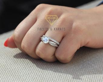 Solitaire Engagement Ring Wedding Band Bridal Set 150 Carat
