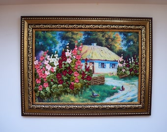 Mellow Embroidered Ukrainian Landscape with house, flowers, chickens and forest