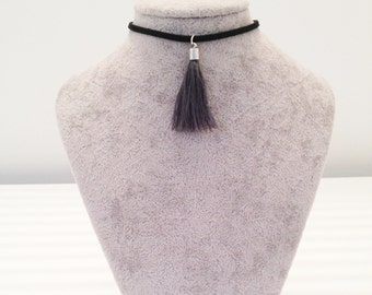Grey Tassel Choker on Black Suede