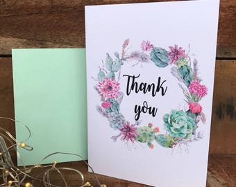 thank you succulent/cacti wreath thank you card