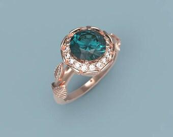 Rose Gold Alexandrite Leaf Branch Engagement Ring Alexandrite Ring Rose Gold Alexandrite Diamond Ring Alexandrite Ring  Leaf