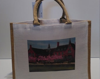 Sandbach School jute shopper bag featuring artwork by Christian Turner
