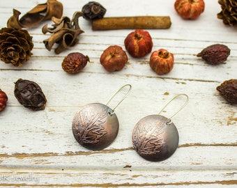 Leaf Earrings, Copper Earrings, Flower Earrings, Boho Earrings, Etched Copper, Disc Earrings, Silver, Coin Earrings, Woodland Jewelry
