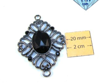 Gunmetal Filigree 50mm x 40mm Pendant, Connector, Link with a Black Acrylic Cabochon, 1062-04