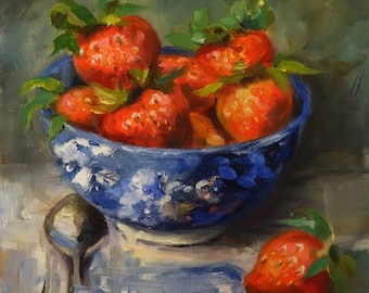Blue Bowl of Strawberries, 8x8 oil painting on panel, red strawberries, blue & white bowl; Wedding, Shower, Christmas gifts; kitchen art