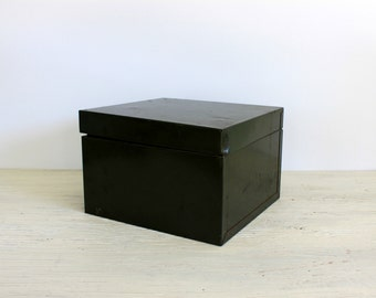 deep dark green industrial file box //  urban organization // metal vintage office // 1950s