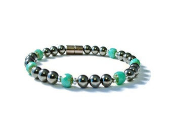 Black/Turquoise Magnetic Hematite Therapy Bracelet, Pain Relief Jewelry