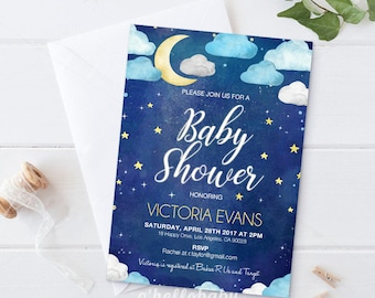 Printable Cloud Baby Shower Invitation Card - Twinkle Twinkle Little Star Invitation Card -  Star Baby Shower Invitation - 032