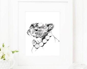 Frenchie • Fashion Illustration | Glicée Art Print | Wall Art | Animal Art