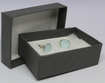 Pastel Blue Silver Domes Earring Studs