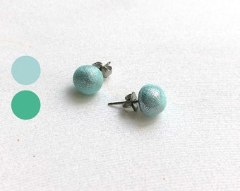 Stud earrings, blue earrings, studs, polymer clay jewelry, post earrings, everyday earrings, small studs, small earrings, teen stud earrings