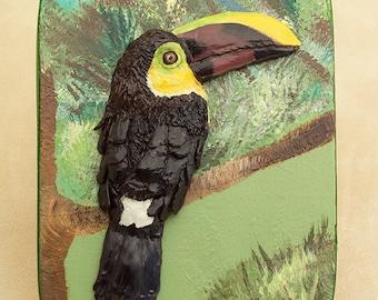 Toucan Sculpture, Bird Memory Box, Tropical Bird Lover Gift, Rainforest Art, Polymer Clay Bird Sculpture on Wood Keepsake Box