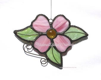 Stained Glass PINK DOGWOOD Flower, Yellow Glass Nugget Center, Handmade Original Design, Pink Dogwood Suncatcher, Mother's Day Gift, Flower