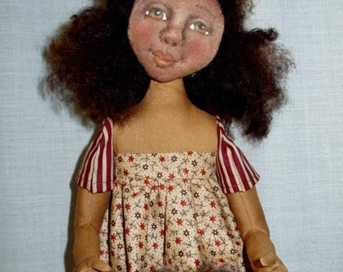PL823E - Molly and Her Button Dolly PDF - Cloth Doll Making Sewing Pattern