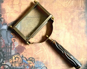 Victorian Replica Extra Large Rectangular Magnifying Glass. Antiqued Brass and Horn. Sherlock Holmes Never Had Better!