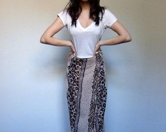 90s Skirt Clothing Leopard Print Wrap Skirt Beachwear Long Animal Print Maxi - Small to Medium S M