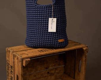 Crochet tote bag, Handmade rope bag, knit handbag, summer bag, large shopper, navy bag, crochet purse, diaper bag, gift for her