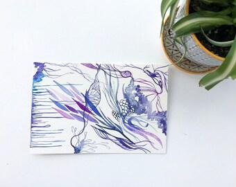 Purple Indigo Blue Watercolor Abstract Original Art Botanical Floral Postcard-Size 4 x 6 Painting Art
