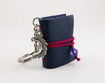 Tiny Crescent Moon Book- travel journal, mini notebook, handmade book, pendant necklace, keychain