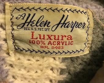 "Xl helen harper ""luxura"" acrylic sweater 40s 50s sweater girl plus size 1x"