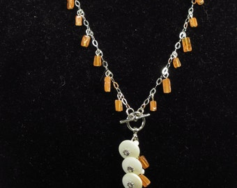 Vintage mother of pearl button and carnelian necklace