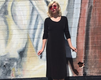 Vintage Black Stevie Nicks Style 90's Dress | Long | Slinky | Witchy | Goth | Comfortable