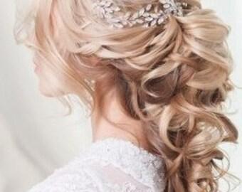 Wedding Hair Vine Bridal Head Piece Silver Bridal Head Piece Bridal Hair Accessory Long hair vine Crystals Bridal Wedding Crystal hair vine