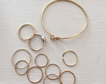 Brass Yellow Gold Hook and  Eye Bangle Bracelet