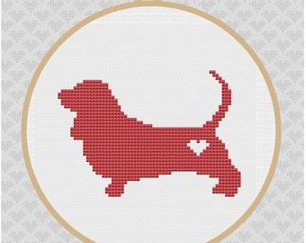 Basset Hound Silhouette Cross Stitch Pattern