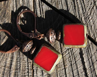 Red Earrings Dangle Earrings Drop Earrings Jewelry Czech Earrings Boho chic Earrings Everyday Earrings Christmas Gift for women Gift for her