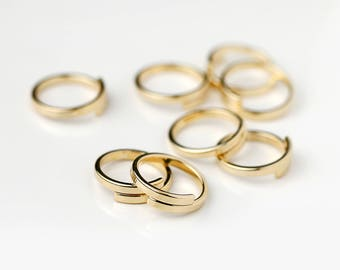 5 Pcs SIZE 5 Wrap Ring Stamping Blanks Gold Finish Rings Wholesale Jewelry Discount Affordable Bulk Gold Plated Ring Supply - 5PRWB-G